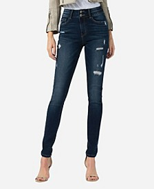 High Rise Double Waistband Skinny Ankle Jeans
