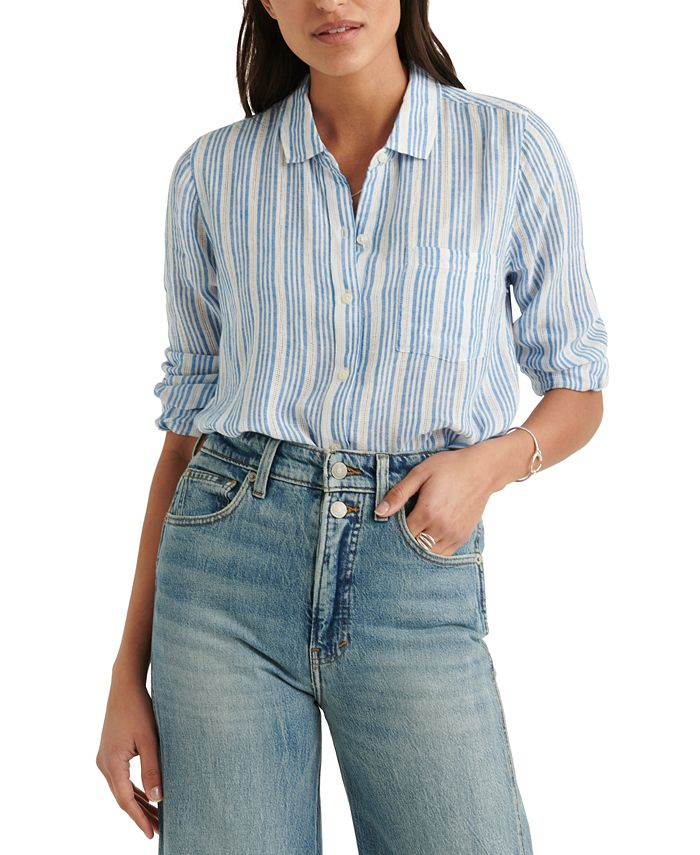 Lucky Brand - Striped Classic One-Pocket Shirt