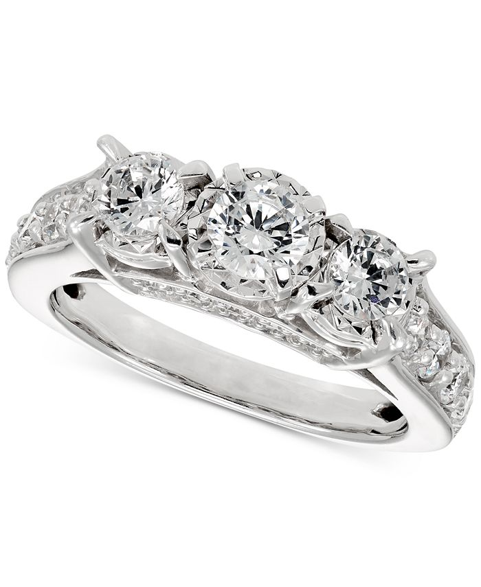 Macy's - Diamond Trinity Ring (1-1/2 ct. t.w.) in 14k White Gold