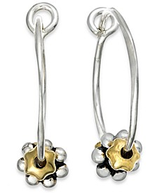 Sterling Silver Earrings, Daisy Hoop Earrings