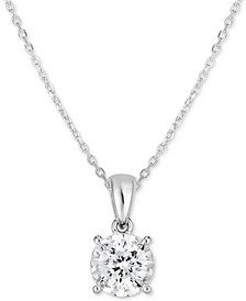"Diamond Solitaire 18"" Pendant Necklace (5/8 ct. t.w.) in 14k White Gold"