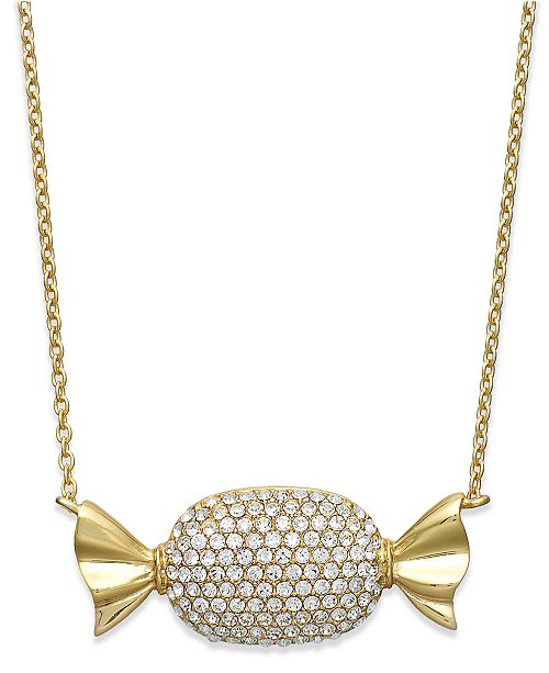 Simone I. Smith 18K Gold over Sterling Silver Necklace, Clear Crystal Candy Pendant