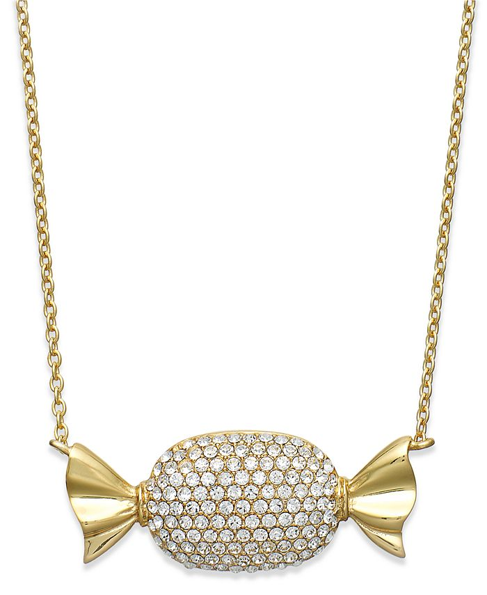Simone I. Smith - 18k Gold over Sterling Silver Necklace, Clear Crystal Candy Pendant