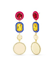 Rhinestone and Enamel Drop Post Earring