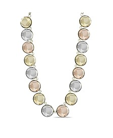 Gold-Tone, Rose Gold-Tone and Silver-Tone Circle Stone Necklace