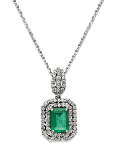 14k White Gold Necklace, Emerald (1 ct. t.w.) and Diamond (3/8 ct. t.w.) Two-Row Pendant