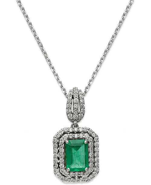 Macy's 14k White Gold Necklace, Emerald (1 ct. t.w.) and Diamond (3/8 ct. t.w.) Two-Row Pendant