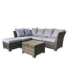 6 Piece Outdoor Patio Wicker Sofa Set