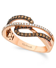 Chocolate by Petite Le Vian® Chocolate and White Diamond (3/8 ct. t.w.) Ring in 14k Rose Gold