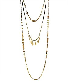 by 1928 Triple Chain Necklace Accented with Baroque Glass Pearls and Swarovski Crystals