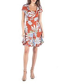 Knee Length Short Sleeve Floral Dress with Godets