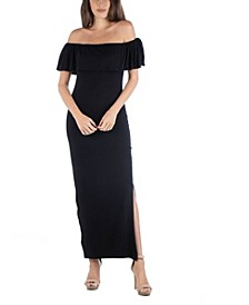 Off Shoulder Ruffle Detail Maxi Dress