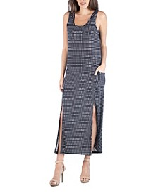 Polka Dot Sleeveless Slip Maxi Dress with Side Slits and Pockets