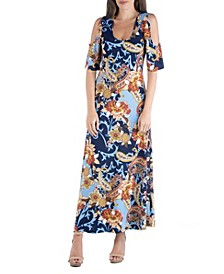 Paisley Scoop Neck Open Shoulder Maxi Dress