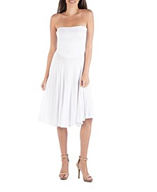 Strapless Midi Dress with Pleats