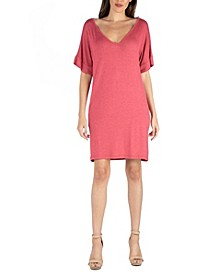 Loose Fit T-Shirt Dress with V-Neck