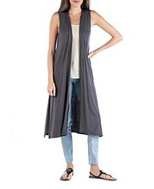 Sleeveless Long Cardigan Vest with Side Slit