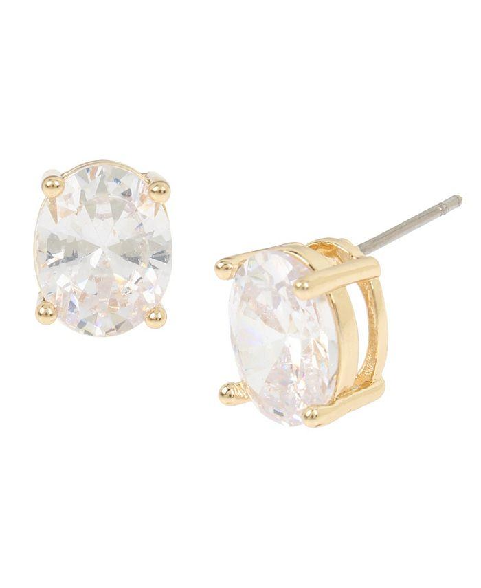 "Jessica Simpson - CZ Oval Stone Stud Earrings, 0.4"""