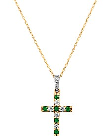 "Emerald (1/6 ct. t.w.) & Diamond (1/6 ct. t.w.) Cross 18"" Pendant Necklace in 14k Gold (Also Available in Certified Ruby & Sapphire)"