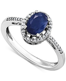 Sapphire (1 ct. t.w.) & Diamond (1/8 ct. t.w.) Ring in Sterling Silver