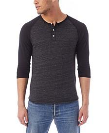 Men's Basic 3/4 Sleeve Raglan Henley Shirt