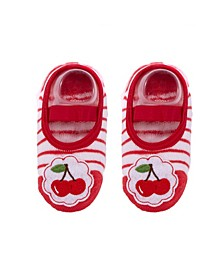 Toddler and Little Girls Socks with Cherries Applique