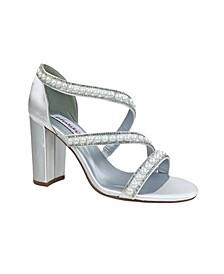 Imitation Pearl Linda Block Heel Sandal