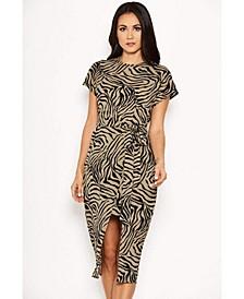 Women's Animal Print Wrap Style Dress