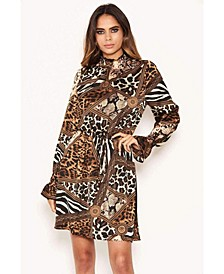Women's Animal Print High Neck Skater Dress