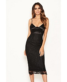 Women's Lace Bodycon Midi Dress