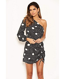 Women's Polka Dot One Shoulder Dress with Side Ruched Detail