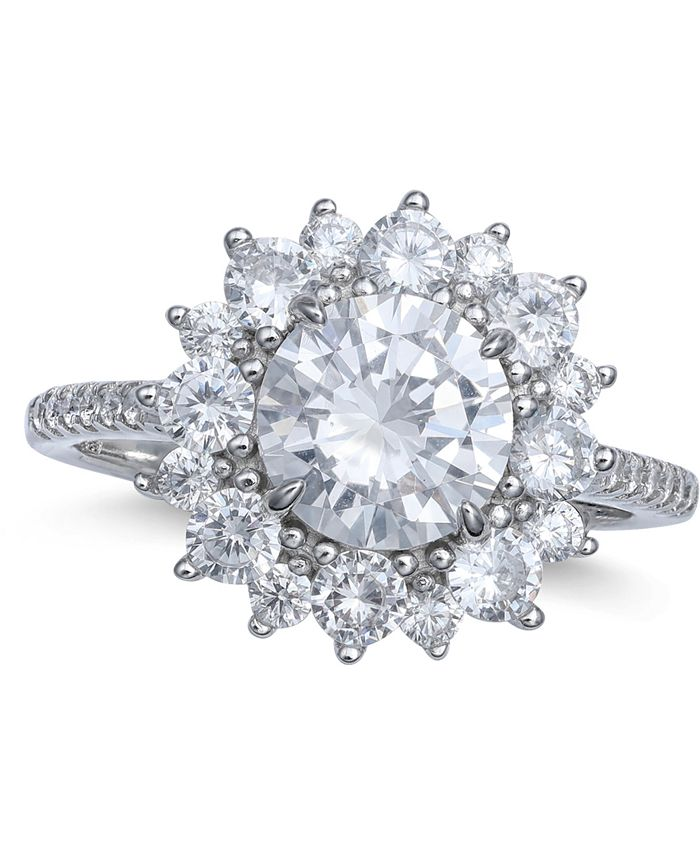 Macy's - Cubic Zirconia Cluster Statement Ring in Sterling Silver