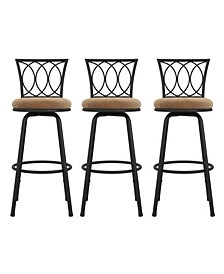 Laila Upholstered Seat Swivel Barstool, Set of 3