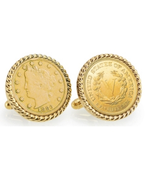 Gold-Layered 1883 First-Year-Of-Issue Liberty Nickel Rope Bezel Coin Cuff Links