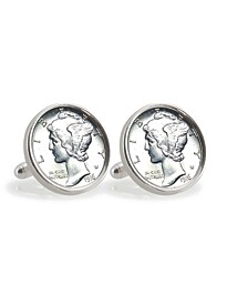Silver Mercury Dime Sterling Silver Coin Cuff Links