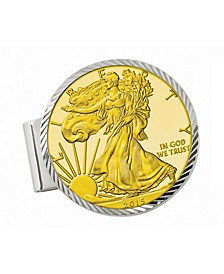 Sterling Silver Diamond Cut Coin Money Clip with Gold-Layered American Silver Eagle Dollar