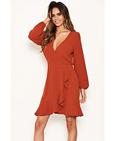 Women's Frill Wrap Long Sleeve Dress
