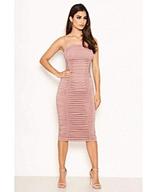 Women's Ruched Strappy Bodycon Midi Dress