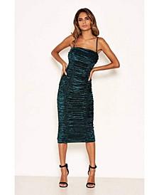 Women's Velvet Ruched Bodycon Dress