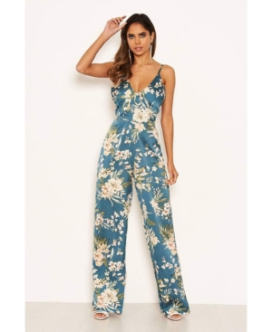 Women's Floral V-Neck Strappy Satin Jumpsuit