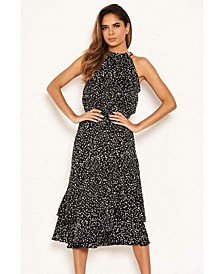 Women's Spotty High Ruffle Neck Midi Dress