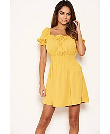 Women's Milkmaid Neck Frill Dress