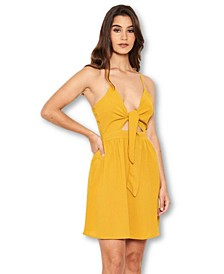 Women's Mustard Knot Front Skater Dress
