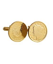 Gold-Layered Liberty Nickel Coin Cufflinks