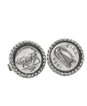 Irish Bull 5 Pence Coin Cuff Links