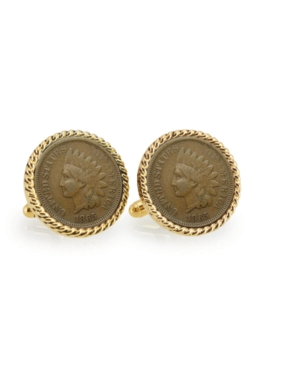 Civil War Indian Head Penny Rope Bezel Coin Cuff Links