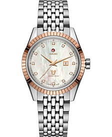 Women's Swiss Automatic Golden Horse Diamond (1/10 ct t.w.) Stainless Steel Bracelet Watch 35mm