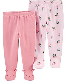 Baby Girls 2-Pair Cotton Footed Pants