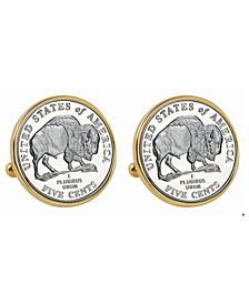 2005 Bison Nickel Bezel Coin Cuff Links