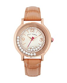 Women's Floating Stone Rose Gold-Tone Light Tan Polyurethane Strap Watch 38mm